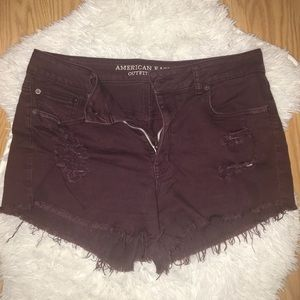 Distressed American Eagle Shorts in Maroon